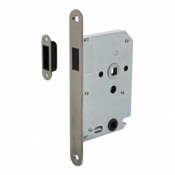 Woningbouw magneet badkamer/toilet slot 63/8mm, voorplaat afgerond rvs, 20x175, doorn 50mm incl. sluitplaat/kom