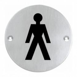 Pictogram rond WC heren RVS