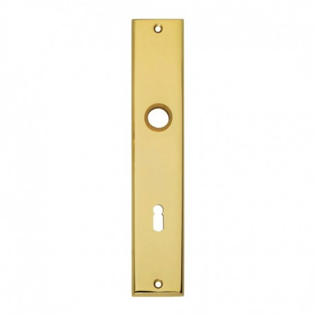 Langschild renovatie met sleutelgat - 235 mm lang bij 43 mm breed - Messing Gelakt