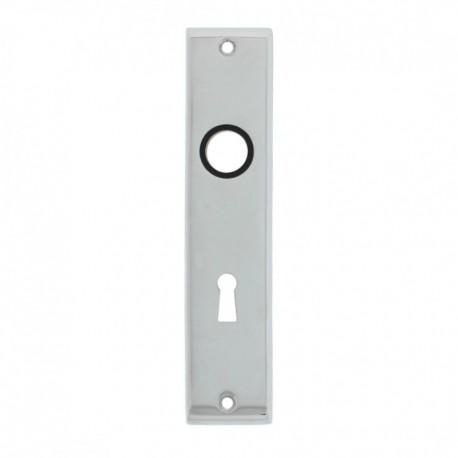 Kortschild afgeschuind met sleutelgat - 180 mm lang bij 41 mm breed - Verchroomd