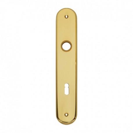 Schild breed ovaal met sleutelgat - 243 mm lang bij 45 mm breed - Messing Gelakt