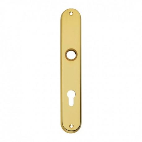 Langschild ovaal met profielcilindergat - 235 mm lang bij 40 mm breed - Messing Gelakt