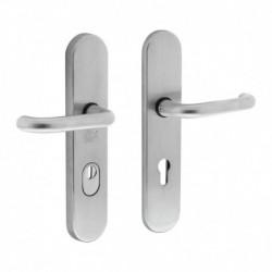 Veiligheidsbeslag ovaal kruk/kruk met profielcilindergat en kerntrekbeveiliging SKG3 (PKVW) - Chroom Mat