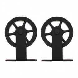 Set van 2 rollers spaakwiel 170mm tbv schuifdeursysteem 450120, incl. bevestiging, staal mat zwart