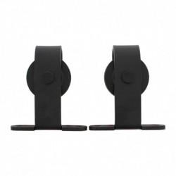 Set van 2 rollers recht 130mm tbv schuifdeursysteem 450100, incl. bevestiging, staal mat zwart