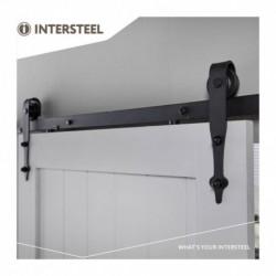 Schuifdeursysteem 2 meter, hangrollen pijlvorm 290mm, staal mat zwart