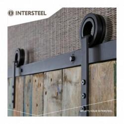 Schuifdeursysteem 2 meter, hangrollen met open wiel 255mm, staal mat zwart