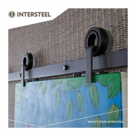 Schuifdeursysteem 2 meter, hangrollen met open wiel 155mm, staal mat zwart