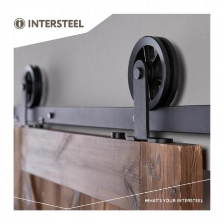 Schuifdeursysteem 2 meter, hangrollen met spaakwiel 170mm, staal mat zwart
