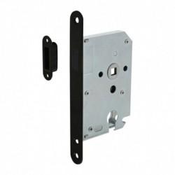 Woningbouw magneet cilinder dag- en nachtslot 55mm, voorplaat afgerond zwart, 20x174, doorn 50mm incl. sluitplaat/kom
