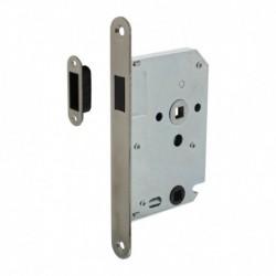 Woningbouw magneet badkamer/toilet slot 63/8mm, voorplaat afgerond rvs, 20x174, doorn 50mm incl. sluitplaat/kom