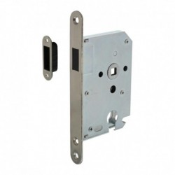Woningbouw magneet cilinder dag- en nachtslot 55mm, voorplaat afgerond rvs, 20x174, doorn 50mm incl. sluitplaat/kom
