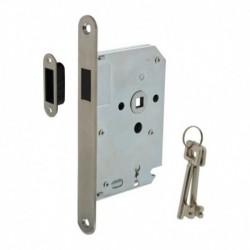 Woningbouw magneet klavier dag- en nachtslot 55mm, voorplaat afgerond rvs, 20x174, doorn 50mm incl. sluitplaat/kom en 2 sleutels