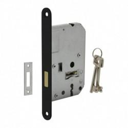 Woningbouw klavier kastslot 55mm, voorplaat afgerond zwart gelakt, 20x175, doorn 50mm incl. sluitplaat en 2 sleutels