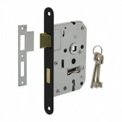 Woningbouw klavier dag- en nachtslot 55mm, voorplaat afgerond zwart gelakt, 20x174, doorn 50mm incl. sluitplaat en 2 sleutels