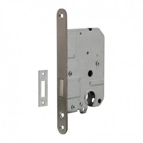 Woningbouw cilinder kastslot 55mm, voorplaat afgerond rvs, 20x174, doorn 50mm incl. sluitplaat