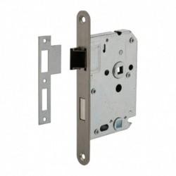 Woningbouw badkamer/toilet slot 63/8mm, voorplaat afgerond rvs, 20x174, doorn 50mm incl. sluitplaat