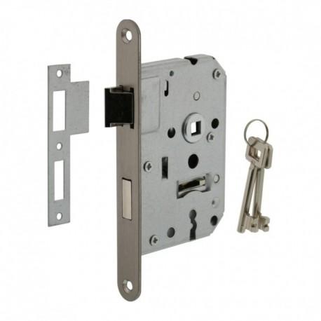 Woningbouw klavier dag- en nachtslot 55mm, voorplaat afgerond rvs, 20x174, doorn 50mm incl. sluitplaat en 2 sleutels