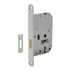 Woningbouw klavier kastslot 55mm, voorplaat afgerond wit gelakt, 20x174, doorn 50mm incl. sluitplaat 2 sleutels