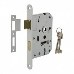 Woningbouw klavier dag- en nachtslot 55mm, voorplaat afgerond wit gelakt, 20x174, doorn 50mm incl. sluitplaat en 2 sleutels