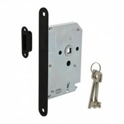 Woningbouw magneet klavier dag- en nachtslot 55mm, voorplaat afgerond zwart, 20x174, doorn 50mm incl. sluitplaat/kom